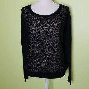 Ann Taylor LOFT sweater lace details Size L